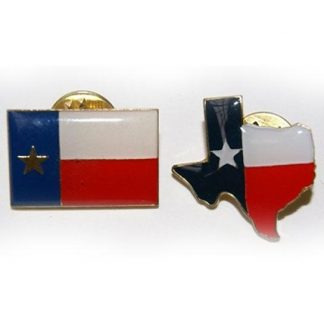 Texas two lapel pin set includes Texas flag pin and Texas map pin
