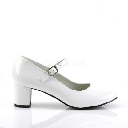 side view of white Mary Jane shoe with 2-inch heel Schoolgirl-50