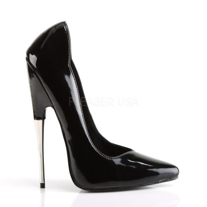 side view of black Fetish pump shoes with steel 6-inch
