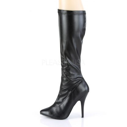 side view of black faux leather knee high boot with 5-inch spike heel Seduce-2000