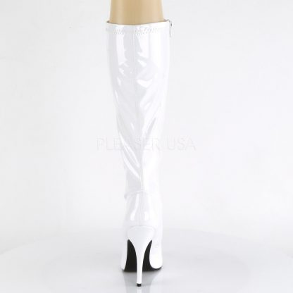 back of white knee high boot with 5-inch spike heel Seduce-2000