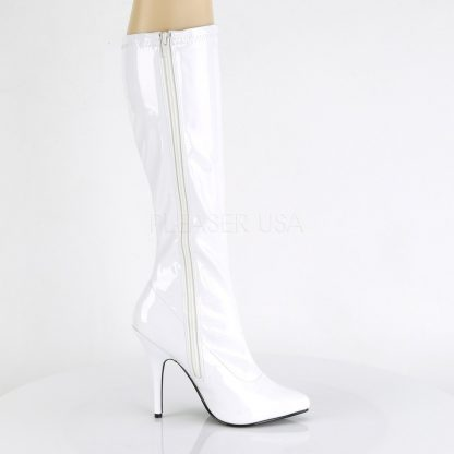 zipper of white knee high boot with 5-inch spike heel Seduce-2000