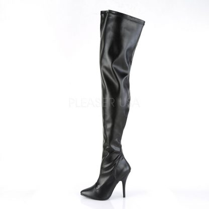 side view of plain black thigh boots with 5-inch spike heel Seduce -3000