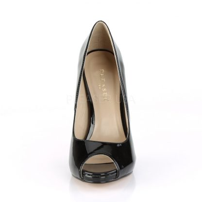 front of black Platform peep toe pump shoes with 5-inch heels Sexy-42