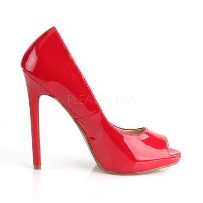 side view of red Platform peep toe pumps with 5-inch heels Sexy-42