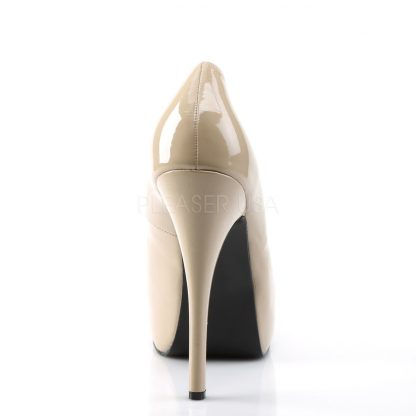 back of cream wide width pump shoes with 5-inch heel Teeze-06W