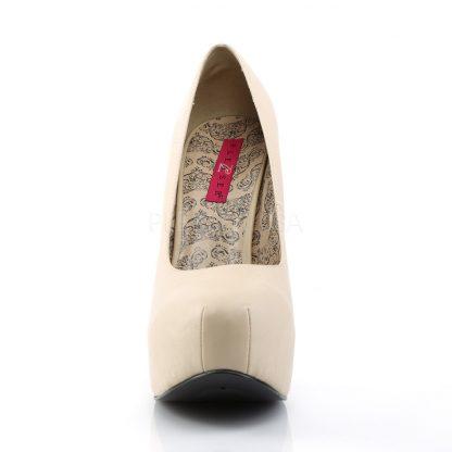 front of cream wide width pump shoes with 5-inch heel Teeze-06W