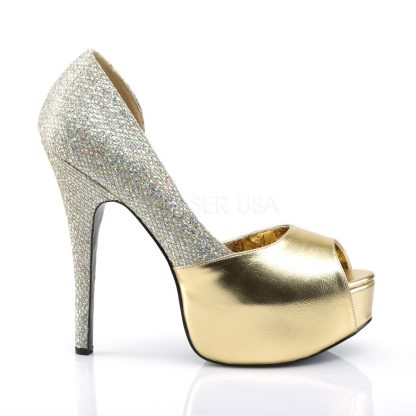 side view of gold peep toe D'Orsay pump shoes with 5-inch heel Teeze-41W