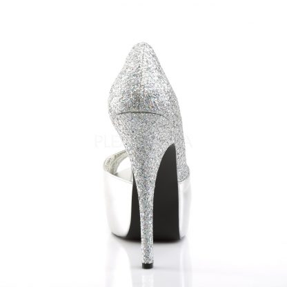 back of silver peep toe D'Orsay pumps with 5-inch heel Teeze-41W