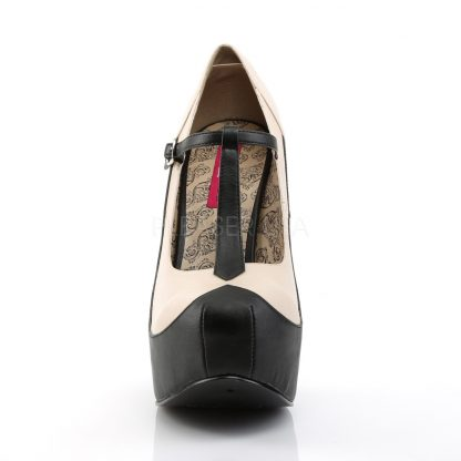 front of black cream two-tone T-strap pumps with 5-inch heel Teeze-45W