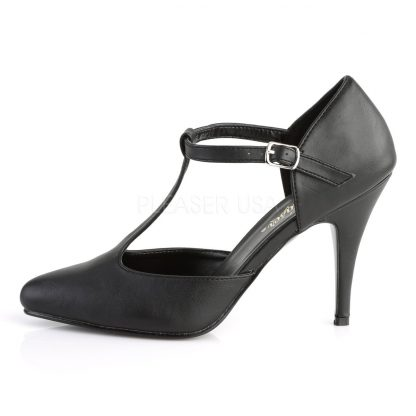 side view of black faux leather T-strap pump shoes Vanity-415