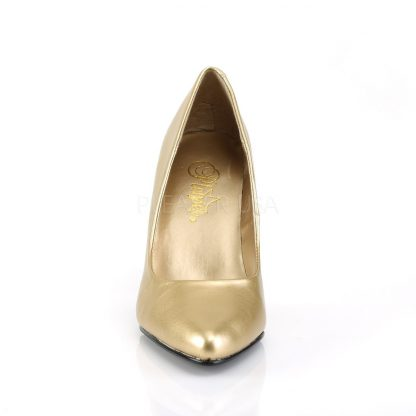 front of gold pump shoes with 4-inch spike heels Vanity-420