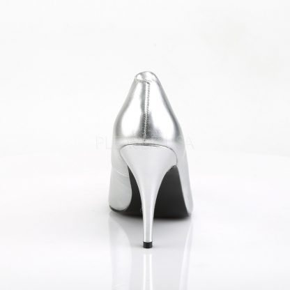 back of silver pump shoe with 4-inch spike heels Vanity-420
