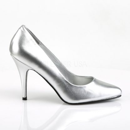 side view of silver pump shoes with 4-inch spike heels Vanity-420