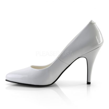 side view of white pump shoes with 4-inch spike heels Vanity-420