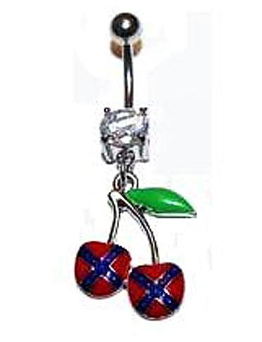 Rebel flag body jewelry with two Confederate flag cherries