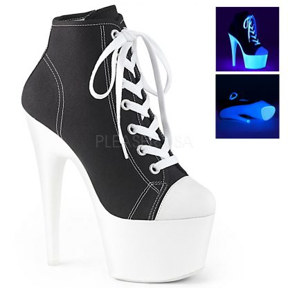 black Lace-up front canvas sneaker with 7-inch spike heel Adore-700SK-02