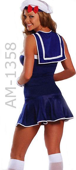 back of American sailor girl dress 3-piece costume 1358