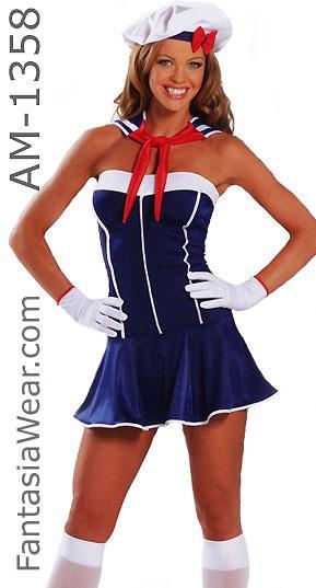 American sailor girl dress 3-piece costume 1358