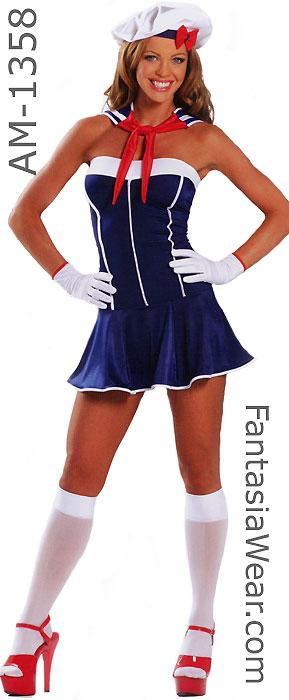 full view of American sailor girl dress 3-piece costume 1358