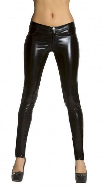 black metallic foil button front pants with pocket detail 3175