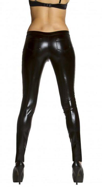 back view black metallic foil button front pants with pocket detail 3175