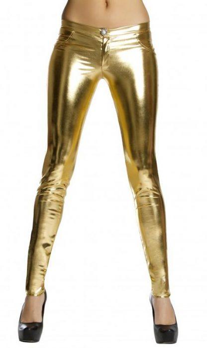 gold metallic foil button front pants with pocket detail 3175