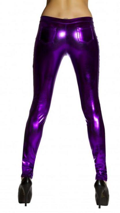 back view purple metallic foil button front pants with pocket detail 3175