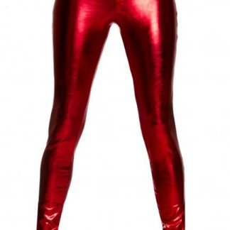 red metallic foil button front pants with pocket detail 3175