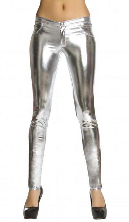 silver metallic foil button front pants with pocket detail 3175