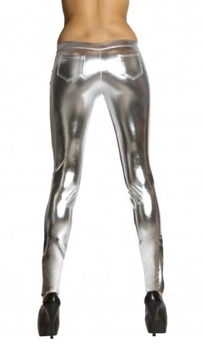 back view silver metallic foil button front pants with pocket detail 3175