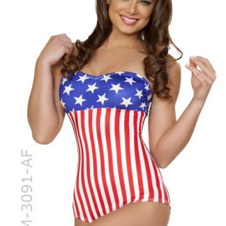 American flag USA stars and stripes 1940's pin-up romper