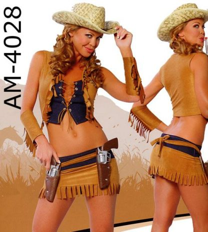 Country western cowgirl costume with straw hat H4029