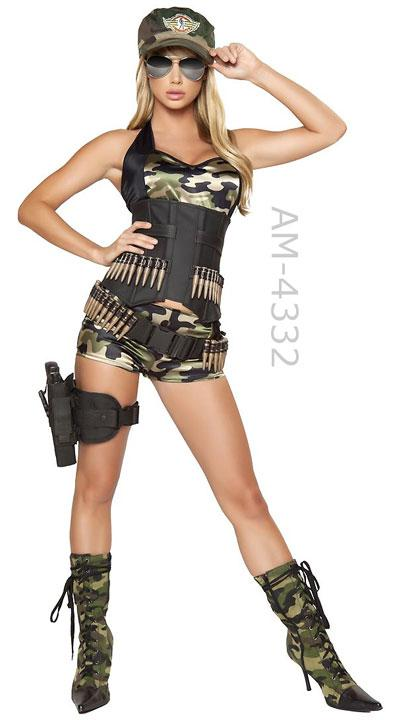 full view of 4332 Army Babe 5-pc camouflage costume