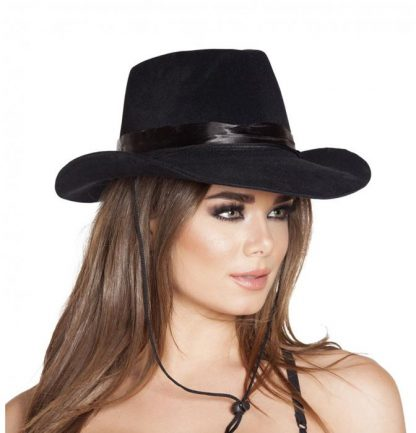 Black country western cowgirl costume hat H4571