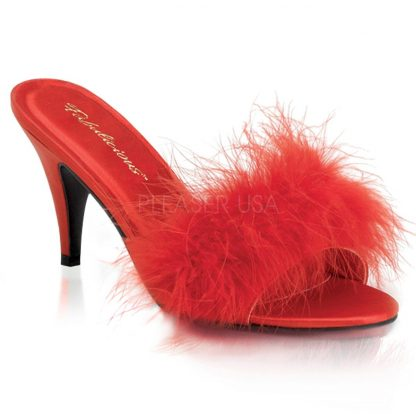 feather slipper shoe with 3-inch heel Amour-03