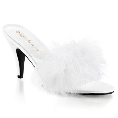 white feather slipper shoe with 3-inch heel Amour-03