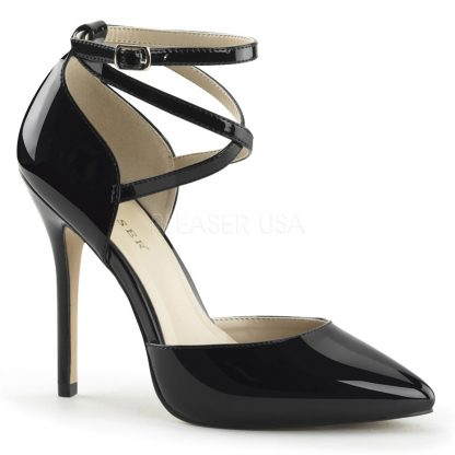 black pointed toe D'Orsay pump shoes with ankle straps Amuse-25