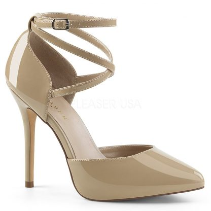 cream pointed toe D'Orsay pump shoes with ankle straps Amuse-25