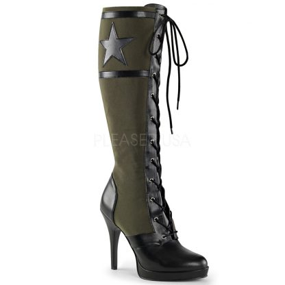Lace-Up Knee High Military Boot with 4-inch Spike Heel Arena-2022