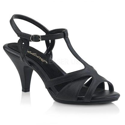 black faux leather High heel T-strap sandal shoe with 3-inch heel Belle-322