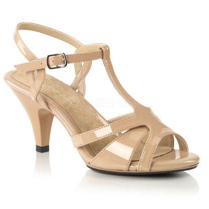 nude High heel T-strap sandal shoe with 3-inch heel Belle-322