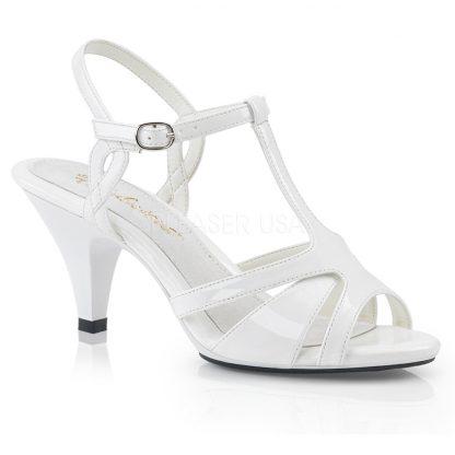 white High heel T-strap sandal shoe with 3-inch heel Belle-322