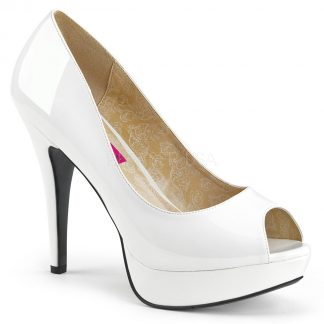 white peep toe pump 5-inch high heel shoes Chloe-01