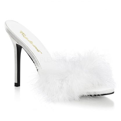 white Marabou feather slipper with 4-inch heel Classique-01F