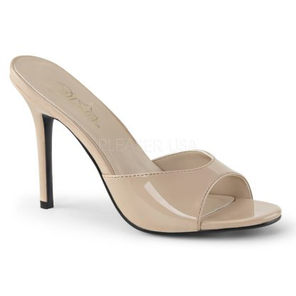 nude patent Peep toe slide slipper with 4-inch heel Classique-01
