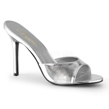 silver Peep toe slide slipper with 4-inch heel Classique-01