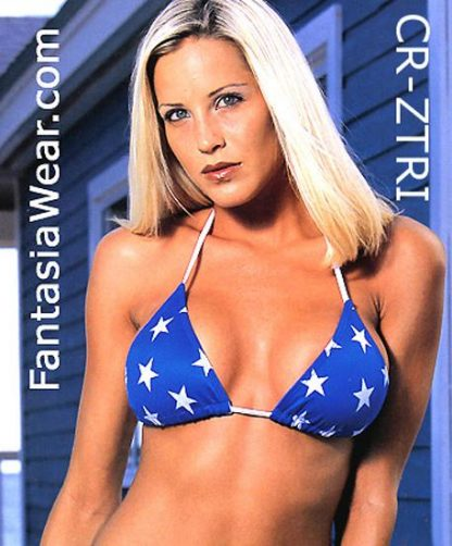 USA American flag stars and stripes triangle bikini top