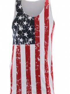 Distressed American flag sleeveless men's shirt
