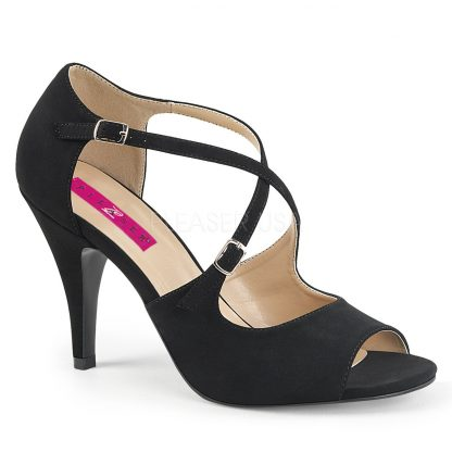 black taupe peep toe crisscross ankle strap sandal with 4-inch heel Dream-412